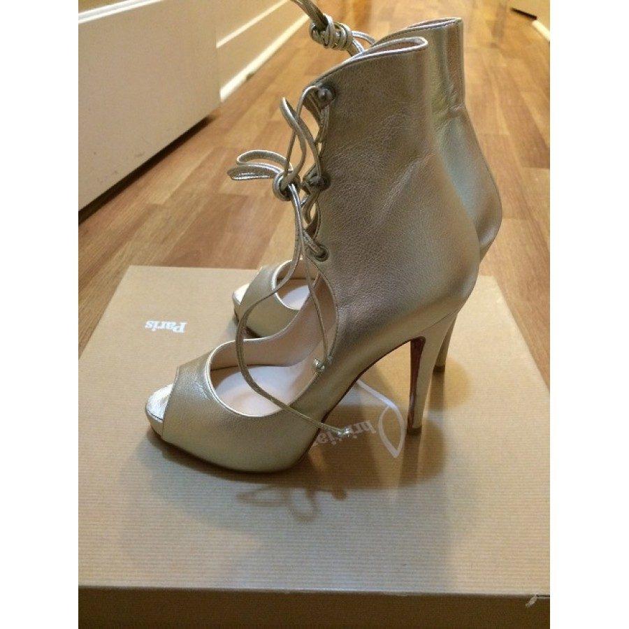 49432d8eab29 Christian Louboutin Juste Calf metallic gold leather lace up heels booties  Lust4labels 3-900x900