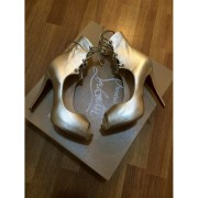 Christian Louboutin Juste Calf metallic gold leather lace up heels booties Lust4labels 6-900x900