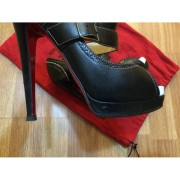 Christian Louboutin Mary Jane Peep Luly Black white leather 140mm Lust4labels 8-900x900