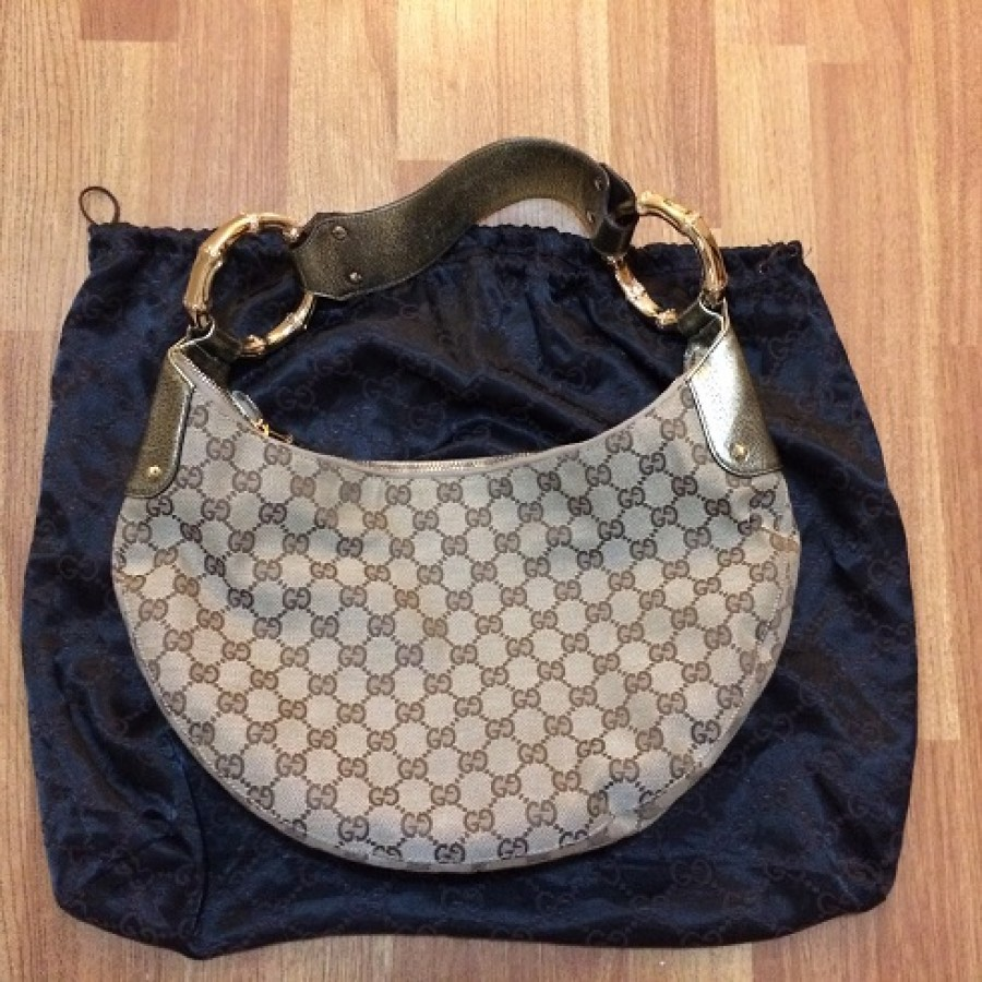 7ee7767a248261 Gucci Monogram Classic Canvas Brown Bamboo Half Moon Hobo Shoulder Bag Purse  Lust4labels 1-900x900