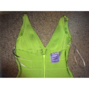 Herve Leger Classic Essentials Lauren Lime Green Dress XXS 4-900x900