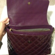 Lust4labels Marc Jacobs Patent Maroon Purple XL Single Quilted Shoulder Bag GHW 11-900x900