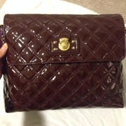 Lust4labels Marc Jacobs Patent Maroon Purple XL Single Quilted Shoulder Bag GHW 2-900x900