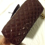 Lust4labels Marc Jacobs Patent Maroon Purple XL Single Quilted Shoulder Bag GHW 4-900x900