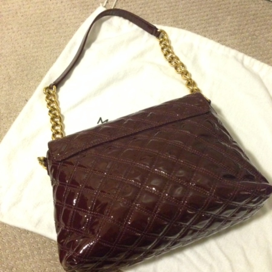 ff0a75471bfe Lust4labels Marc Jacobs Patent Maroon Purple XL Single Quilted Shoulder Bag  GHW 6-900x900