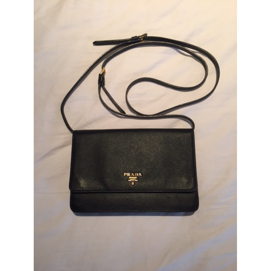 7bafe1eeec78 Prada Black Saffiano Lux Leather Wallet on Chain Strap Crossbody Bag  Lust4Labels 1-900x900