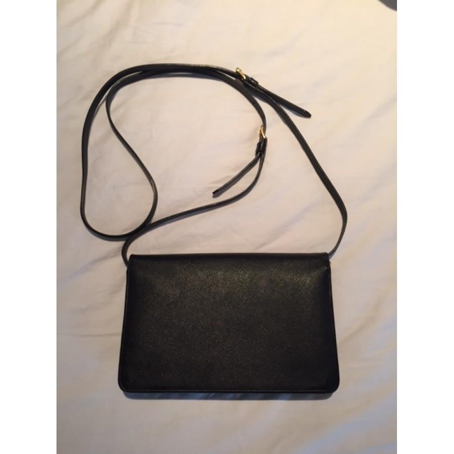 a6edeb49e2caff Prada Black Saffiano Lux Leather Wallet on Chain Strap Crossbody Bag  Lust4Labels 2-900x900