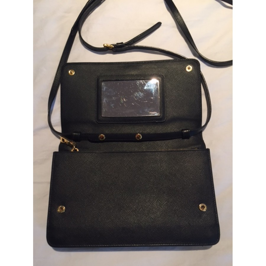 Prada Black Saffiano Lux Leather Wallet on Chain Strap Crossbody Bag  Lust4Labels 5-900x900 bff123219d6fd