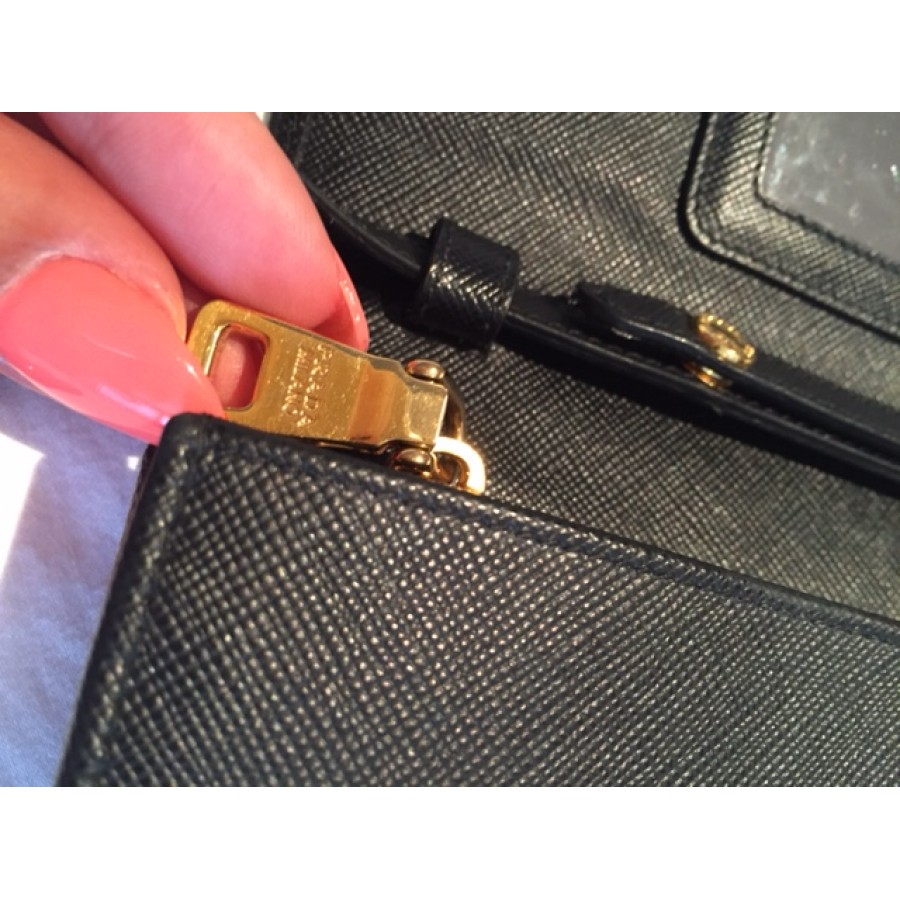 Prada Black Saffiano Lux Leather Wallet on Chain Strap Crossbody Bag  Lust4Labels 7-900x900 0e0d80d917433