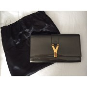 YSL Yves Saint Laurent Y Chyc Grey Patent Leather Clutch Lust4Labels 4-900x900