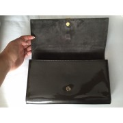 YSL Yves Saint Laurent Y Chyc Grey Patent Leather Clutch Lust4Labels 9-900x900