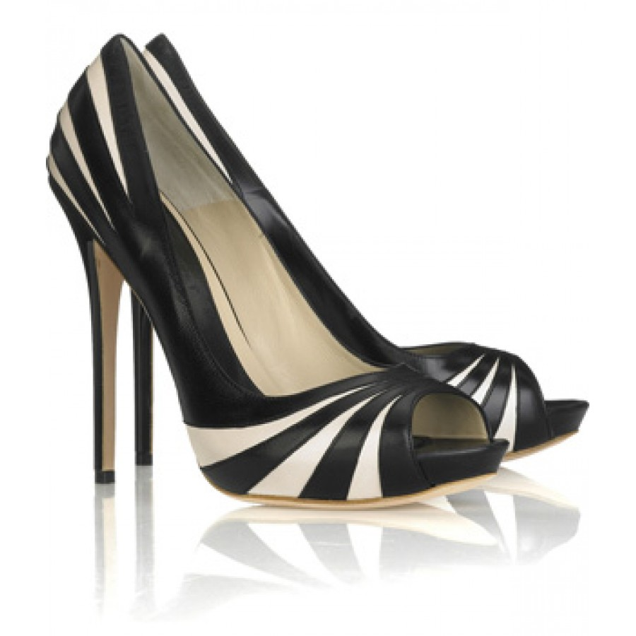 80250665b90b  900 Alexander Mcqueen Black White Tiger Scratch Peeptoe Stiletto ...