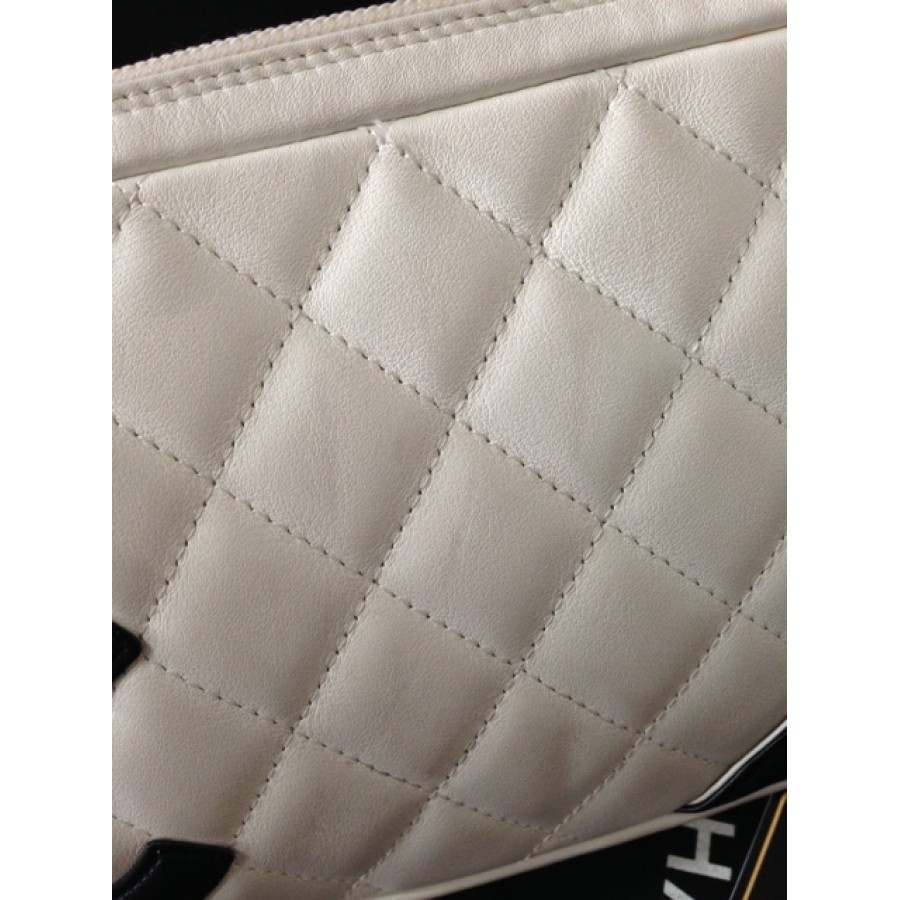 54bd238bdd $1000 Chanel White Black Cambon Ligne Lambskin Leather CC Logo ...