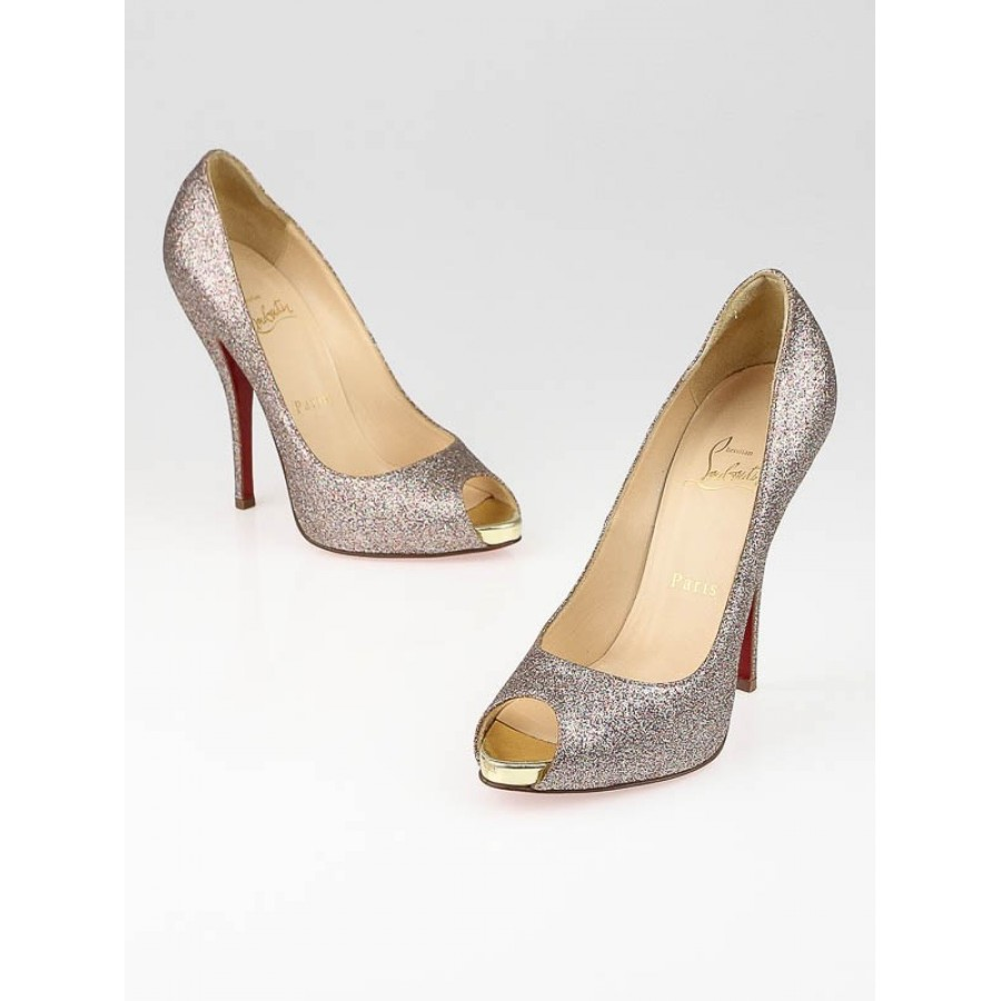the best attitude 4a34a 9c172 $800 Christian Louboutin Titi Glitter Gold 120MM Peeptoe ...