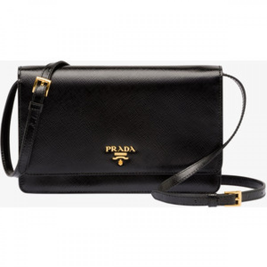 700 Prada Saffiano Lux Black Leather Wallet on Strap Shoulder Bag ... f424855af0ad0