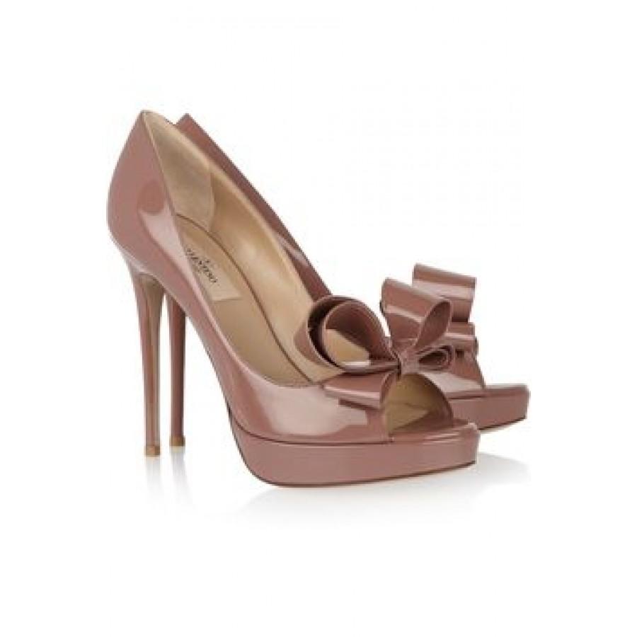 8f6f48197e0  800 Valentino Garavani Couture Bow Peeptoe Taupe Patent Leather ...
