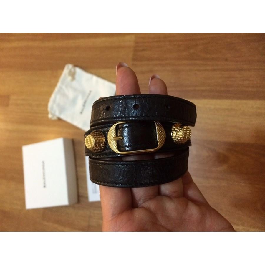 Balenciaga Triple Tour Clic Black Leather Gold Bracelet 4labels 2 900x900