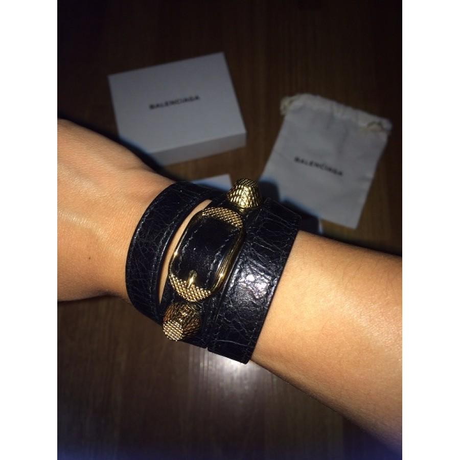 250 Balenciaga Clic Black Gold Triple Tour Leather Wrap
