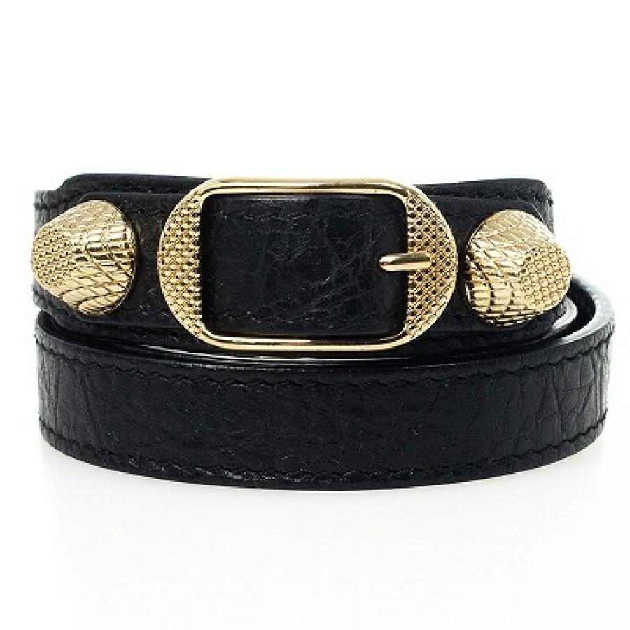 Balenciaga Triple Tour Clic Black Leather Gold Bracelet 4labels 900x900