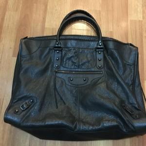 Balenciaga Work City Town Black Leather Travel Bag Purse Lust4Labels 1