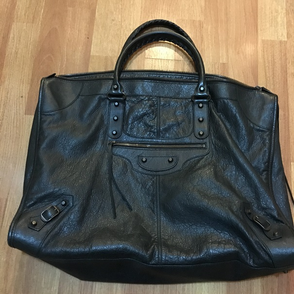 1100 Balenciaga Weekender Large Black Leather Travel Bag