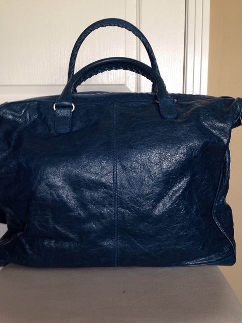 $1200 Balenciaga Weekender Velo Large Blue Leather Travel Tote Bag ...