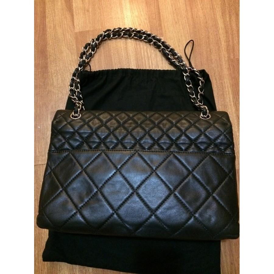 3f01c2f783583c Chanel Classic Business Maxi Flap Black Calf Leather Bag Purse SHW  Lust4Labels 6-900x900