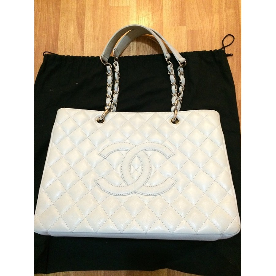 3e05162b8d70 Chanel Classic Grey Caviar Leather Grand shopper Tote SHW Shoulder Bag GST  Lust4Labels 2-900x900