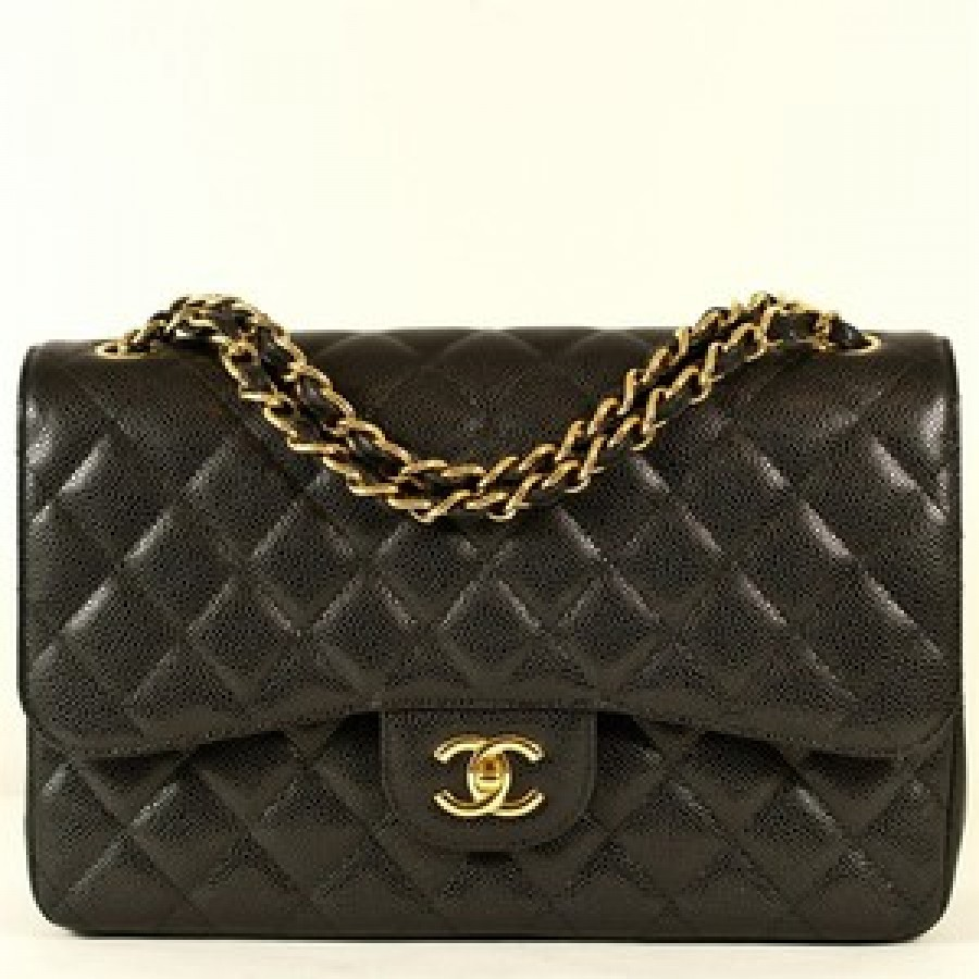 7fc524d66aa0 $7500 Chanel Classic Black Caviar Quilted Leather Jumbo Flap Bag ...