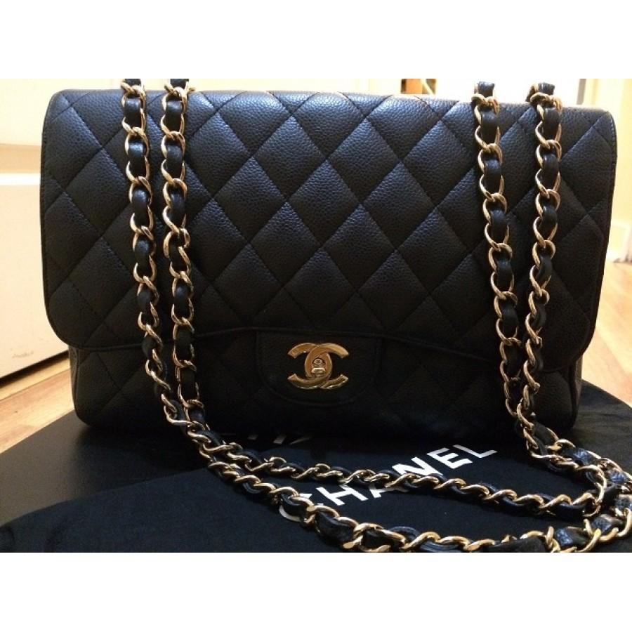 ddc7800c837  6000 Chanel Classic Black Caviar Leather Jumbo Single Flap Shoulder ...