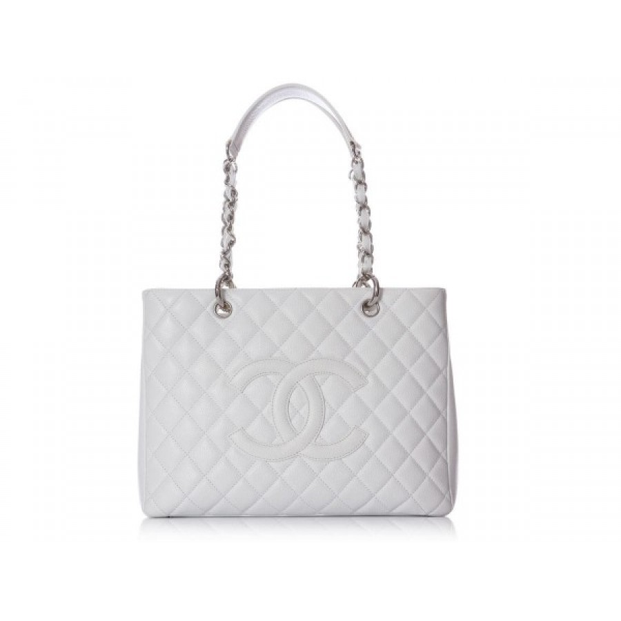 3245a8ebd970 $3800 Chanel Classic Light Grey Caviar Leather Grand Shopping Tote ...