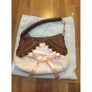 Christian Dior Ballet Collection Satin Tie Python Exotic Pink Tan Bag Purse Lust4labels-900x900