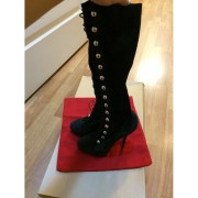 Christian Louboutin Alta Fifre Velour Black Suede Knee High Military Boots Lust4labels 3-900x900