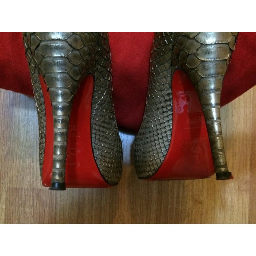 christian lebouton shoes - $1300 Christian Louboutin Metallic Bronze Exotic Python Leather ...