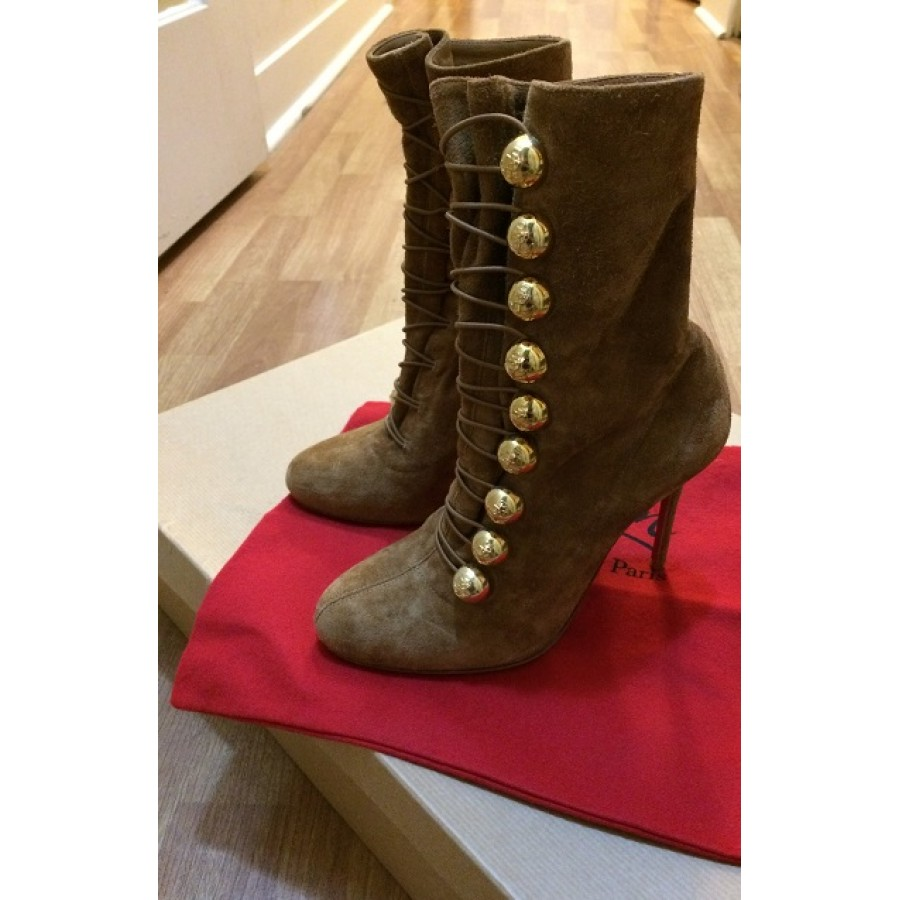 17615938208 Christian Louboutin Ronfifi Veau Tan Brown Gold Military Suede Velour Boots  Lust4Labels 1-900x900