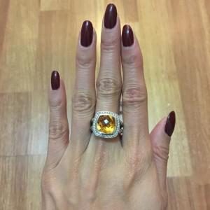 David Yurman 925 Sterling Silver Diamond Citrus Orange Topaz Albion Cable Ring SZ 6 Lust4Labels 1