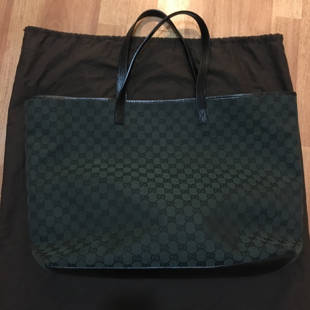 Gucci Monogram Canvas Dark Green Logo Sukey Tote Bag Purse Lust4labels 1