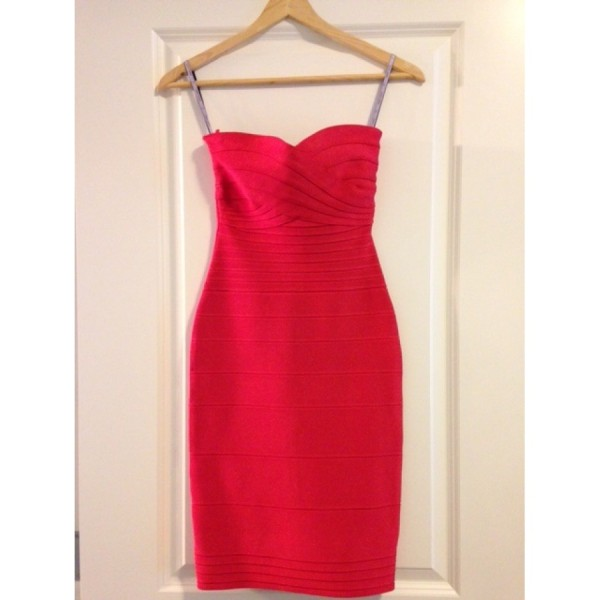 Herve Leger Red Poppy Claudia Strapless Dress XXS Lust4Labels 1-900x900