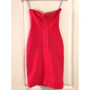 Herve Leger Red Poppy Claudia Strapless Dress XXS Lust4Labels 2-900x900