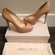 Jimmy Choo Patent leather Nude Beige Classic Cosmic Pumps Lust4Labels 1-900x900