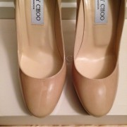 Jimmy Choo Patent leather Nude Beige Classic Cosmic Pumps Lust4Labels 2-900x900