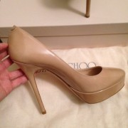 Jimmy Choo Patent leather Nude Beige Classic Cosmic Pumps Lust4Labels 4-900x900