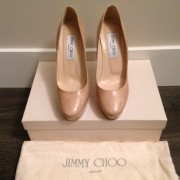 Jimmy Choo Patent leather Nude Beige Classic Cosmic Pumps Lust4Labels-900x900