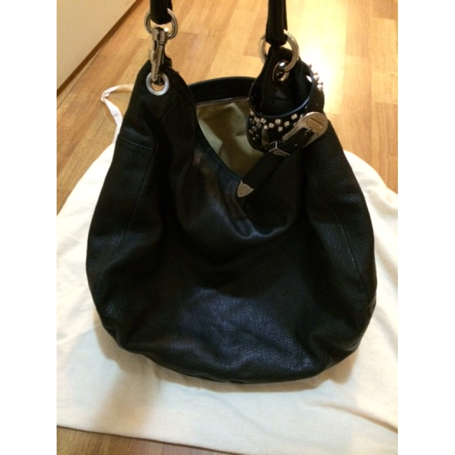$700 Jimmy Choo Black Leather Sky Bracelet Silver Studded Hobo Bag ...