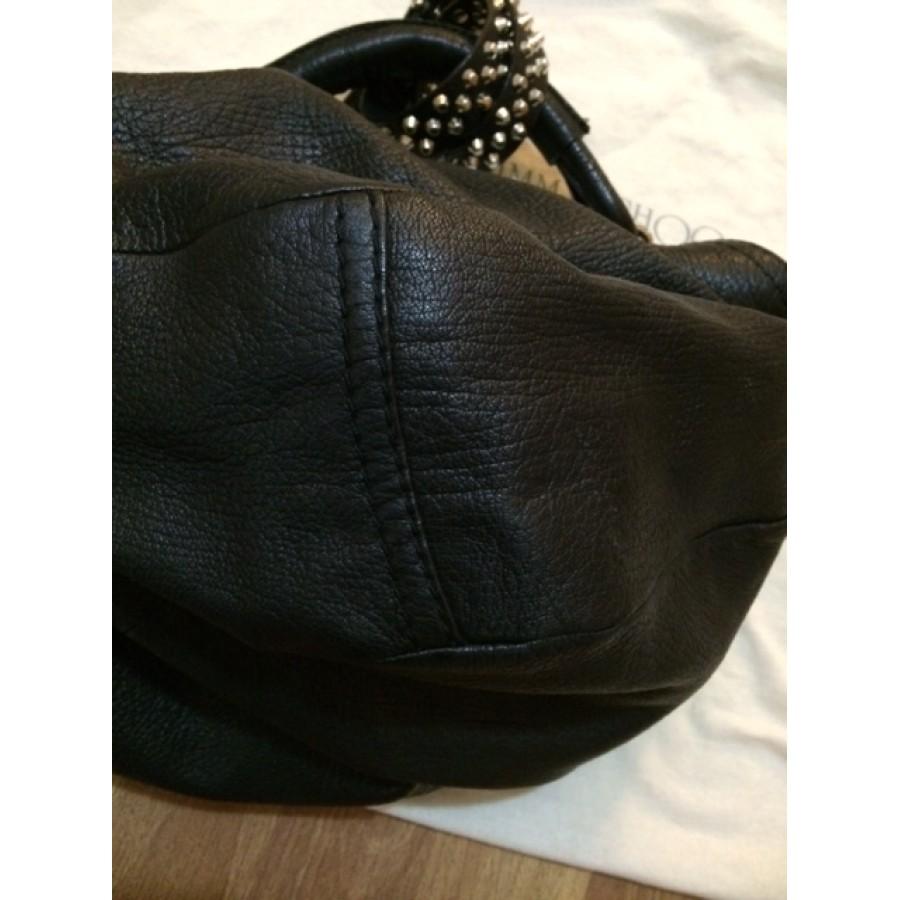 265358f131 Jimmy Choo Sky Studded Silver Hardware Black Leather Hobo Bag Purse  Lust4Labels 6-900x900