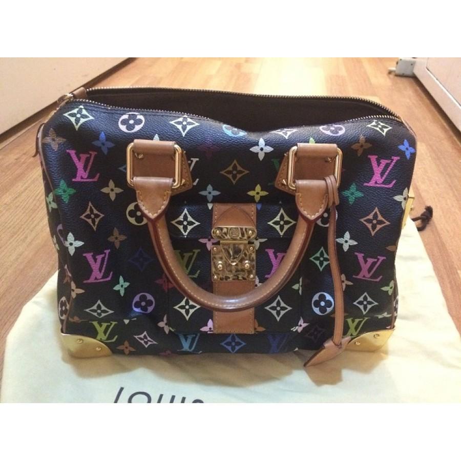 1973a7a7b711 Louis Vuitton LV Speedy Multicolor Murarkami Black Leather Bag Purse  Lust4labels-900x900