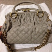 Lust4labels Marc Jacobs Grey Leather Quilted Stam GHW 9 shoulder bag-900x900