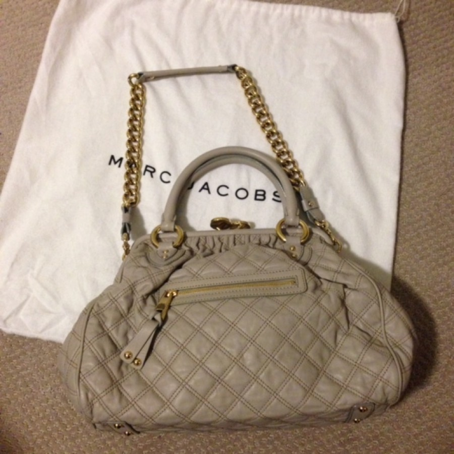 154567171f6ed Lust4labels Marc Jacobs Grey Leather Quilted Stam GHW Shoulder bag-900x900
