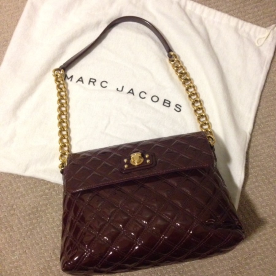 77f457817524 Lust4labels Marc Jacobs Patent Maroon Purple XL Single Quilted Shoulder Bag  GHW-900x900