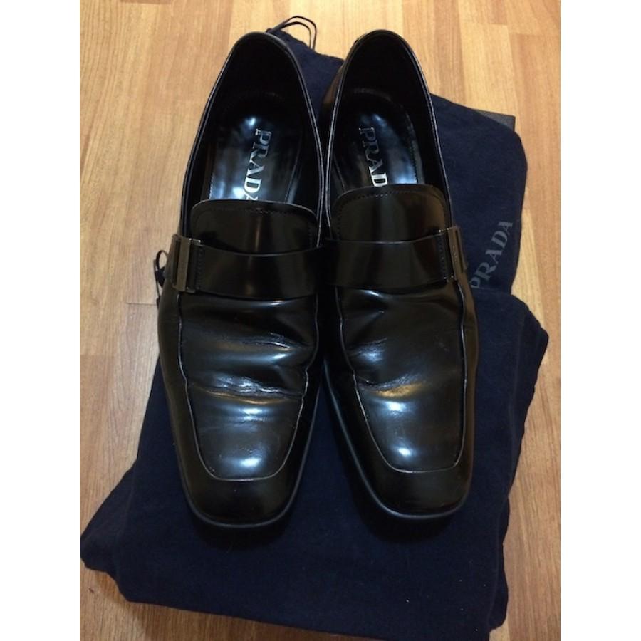 4labels Mens Prada Black Leather Dress Shoes 7 900x900